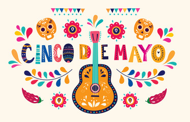 Beautiful vector illustration with design  for Mexican holiday 5 may Cinco De Mayo. Vector template with traditional Mexican symbols skull, Mexican guitar, flowers, red pepper Fototapete