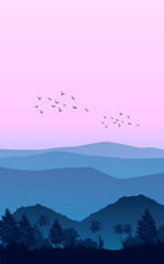 Printed kitchen splashbacks Purple Nature forest Natural Pine forest mountains horizon Landscape wallpaper Sunrise and sunset Illustration vector style colorful view background