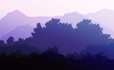 Tuinposter Purper Nature forest Natural Pine forest mountains horizon Landscape wallpaper Sunrise and sunset Illustration vector style colorful view background