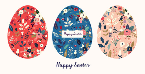 Fototapete - Big collection of vector Easter holiday cards with Easter eggs