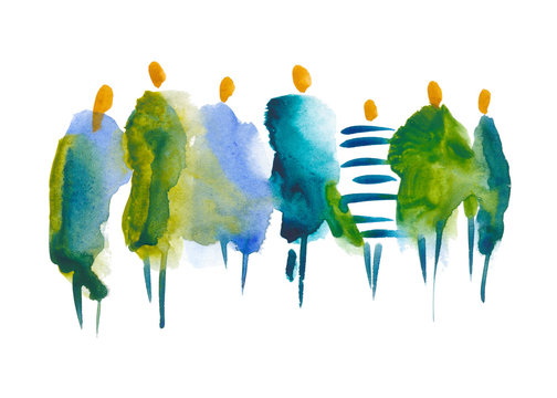 hand drawn illustration: people. A stain of watercolor paint in the shape of a group of people