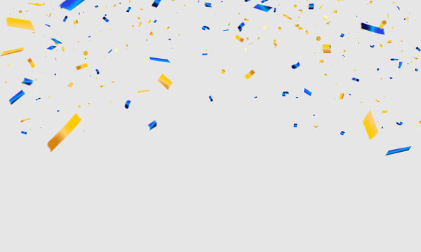 White background with blue and Yellow confetti Celebration carnival ribbons. luxury greeting rich card.