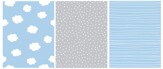 Cute Pastel Color Geometric Seamless Vector Patterns. White Polka Dots on a Gray Background. White Stripes and Fluffy Clouds Isolated on a Light Blue Background. Lovely Infantile Style Nursery Print.