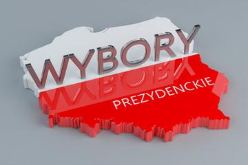Obraz Wybory prezydenckie w Polsce - ilustracja 3D - fototapety do salonu