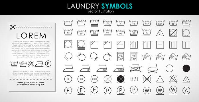 Laundry icons set. Outline set of laundry symbols vector icons isolated on white background