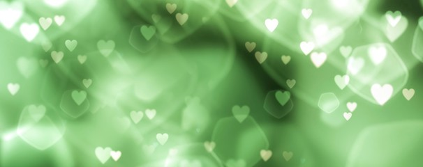 Fototapete - Beautiful green abstract and elegant background with bokeh and hearts