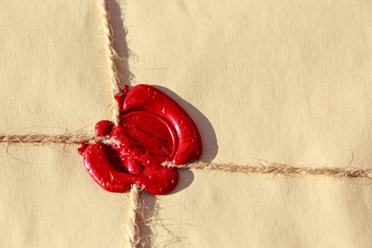 Parcel with wax seal