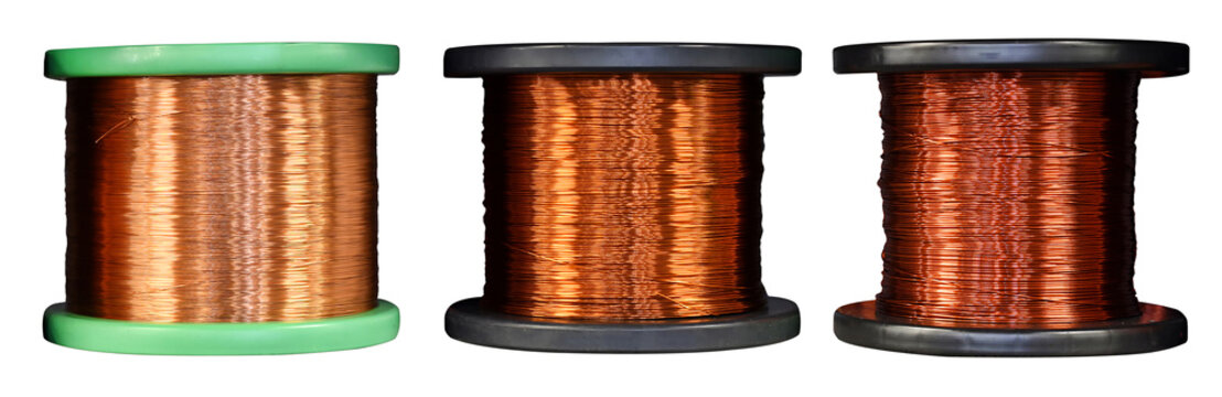 Copper wire coils isolated on white