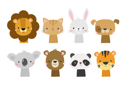 Cute animal faces in cartoon hand drawn style. Vector character illustration for baby, kids card, poster, invitation, apparel, nursery decor. Koala, lion, dog, bunny, bear, panda, tiger, cat.
