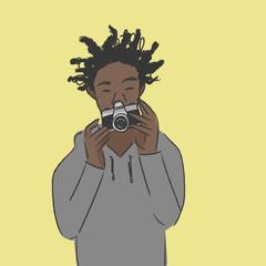 カメラを構える 写真を撮る 男性 カラー