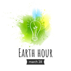 Illustration of Earth hour. March 28. Vector illustration