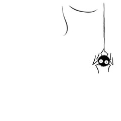 Cute spider on the web. Hand drawn. Isolated on white background. Halloween illustration