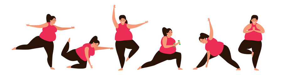 overweight woman doing exercises  on white background set weight loss concept