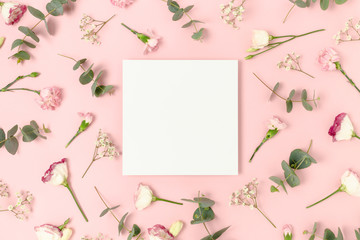 Square paper card mockup. Floral pattern on a pink background.
