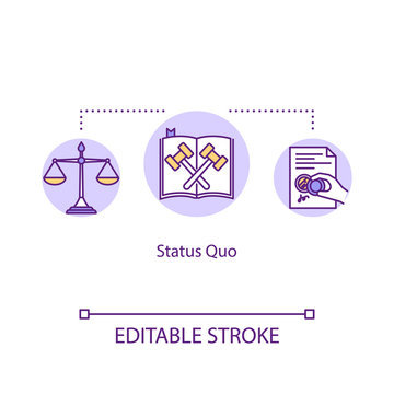 Status Quo concept icon. Courtroom order. Legal verdict. Jury decision. State of affair. Common law idea thin line illustration. Vector isolated outline RGB color drawing. Editable stroke