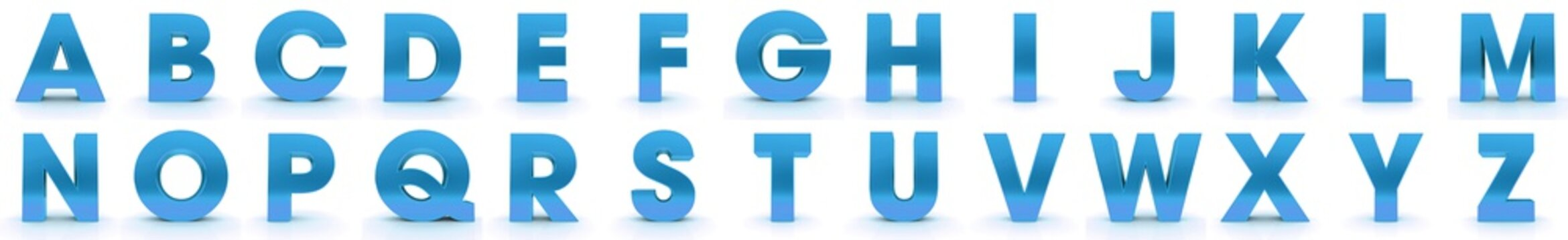 letters 3d blue alphabet capital characters text signs