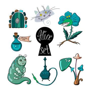 Alice in Wonderland Set with caterpillar, magic drink, door, keyhole, predatory flower, cat and mushrooms