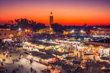 Foto op Aluminium Marokko Jamaa el Fna market square with Koutoubia mosque, Marrakesh, Morocco, north Africa