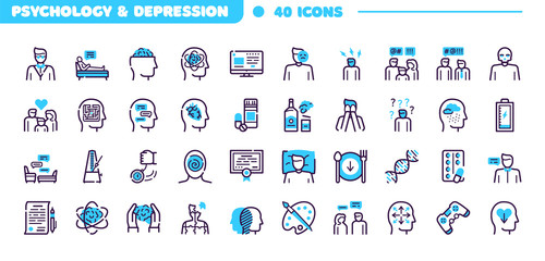 Depression symptoms blue linear vector icons set