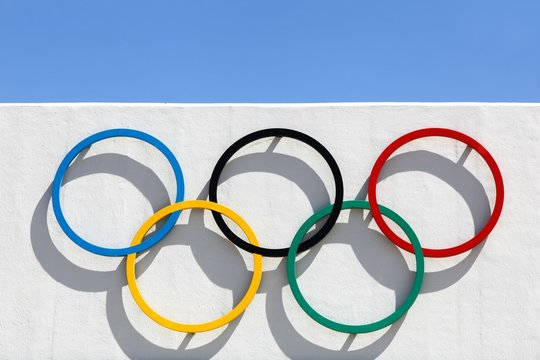 Kiel, Germany - June 4, 2016:  Olympic rings at Kiel Schilksee Olympic Centre. In 1972 Olympic games held in Munich and Kiel hosted the Olympic sailing competitions