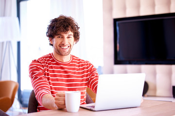 Smiling handsome man using his laptop and drinking tea while sitting at desk at home