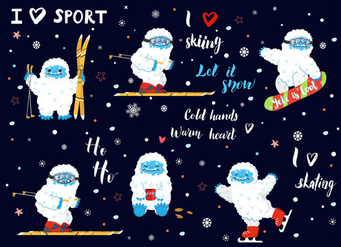Cute snow yeti winter activities and sport with lettering calligraphy quotes vector set. Happy cartoon yeti skiing, skating, snowboarding, with cup of coffee or tea. Winter holidays