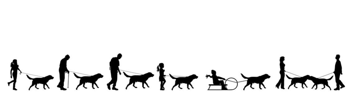 Vector silhouette of collection of people walks with dog on white background. Symbol of pets and friendship.