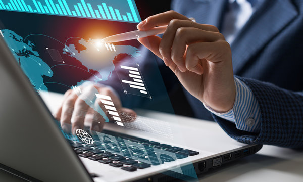 Businessman works with financial data