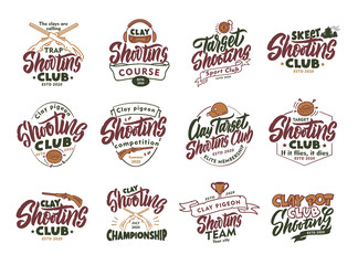 Set of vintage Clay Shooting emblems and stamps. Colorful badges, templates and stickers for Shooting club