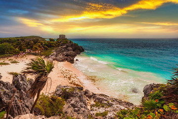 Wall Mural - Caribbean beach at the cliff in Tulum at sunset, Mexico