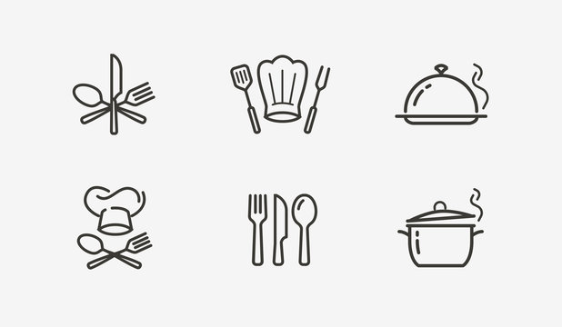 Cooking icon set vector. Culinary, restaurant, cuisine symbol or logo