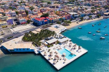 Foto auf AluDibond Blau türkis Aerial view of Mindelo Marina in Sao Vicente Island in Cape Verde