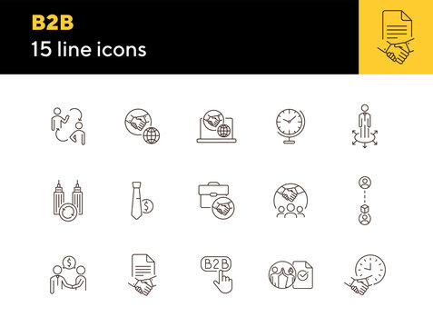 B2B icons. Set of line icons. Association, business partnership, business cooperation. Partnership concept. Vector illustration can be used for topics like business, marketing, trade