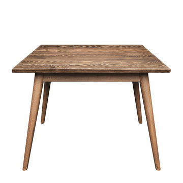 Brown small wooden table isolated