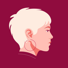 The head of a European girl in profile. Portrait of a blonde woman with short haircut. Social Media Avatar. Vector Flat Illustration