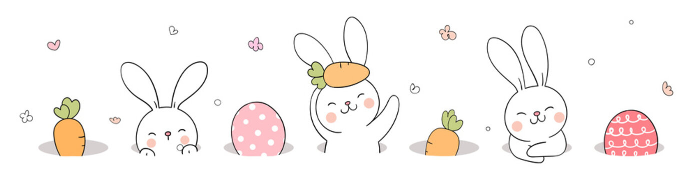Draw banner rabbit and egg in hole For Easter day.