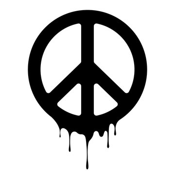 Peace sign. Vector peace icon. Drips of paint. Peace print