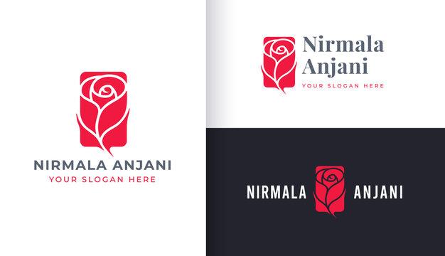 Minimal Rose flower logo design