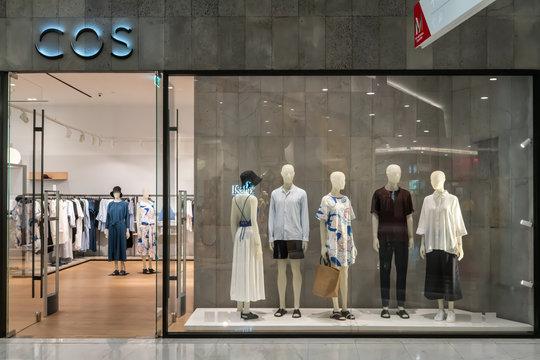 COS shop at Emquatier, Bangkok, Thailand, Apr 25, 2019 : Fashionable brand window display.