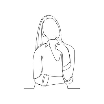 Continuous line drawing of thinking woman. One line art of business woman thinking idea. Vector illustration