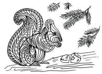 Illustration of a squirrel with nuts on a fir tree. Vector coloring book for children and adults. Beautiful drawings with patterns and small details. One of a series of coloring pictures.