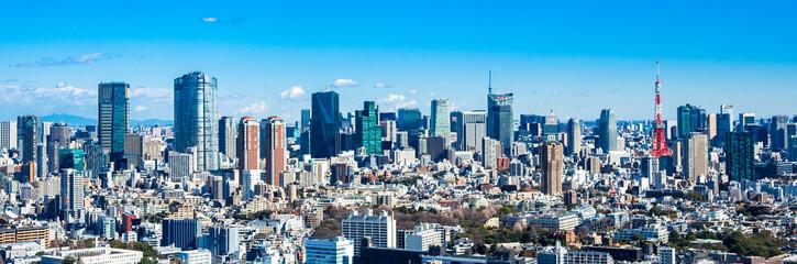 Tuinposter Tokio 東京 青空と都市風景 ワイド