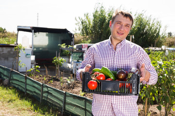 Fototapete - Portrait of man gardener holding basket with harvest of vegetables