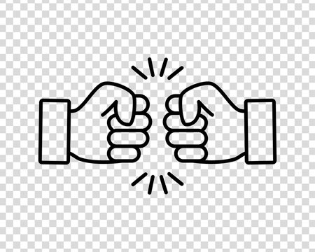 Bro fist bump or power five pound flat vector icon for apps and websites on a transparent background