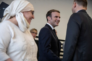 French President Emmanuel Macron arrives for a meeting with police and local associations to discuss Islamist separatism and discrimination, in Mulhouse