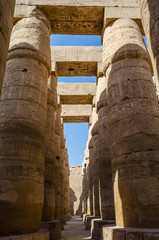 Egyptian Art. Columns with drawings in the Karnak Temple