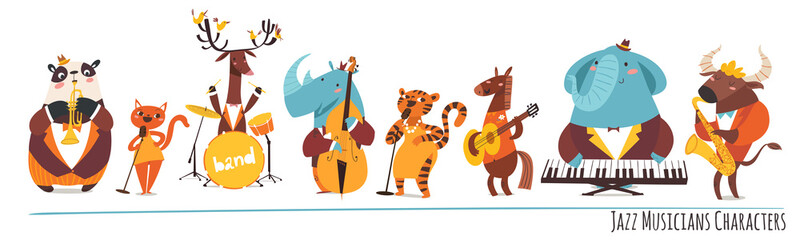 Jazz music cartoon characters with animals playing music instruments Wall mural