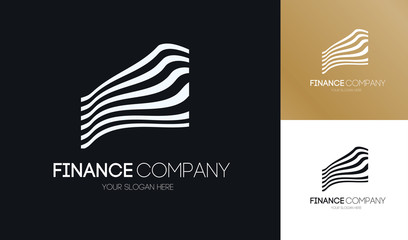 Finance logo abstract line style for business company, progress sign, growth up label, technology concept, bank symbol, financial stock exchange market charts logotype. Real estate emblem. 10 eps