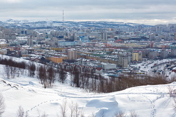 View of winter Murmansk in cloudy weather, Russia