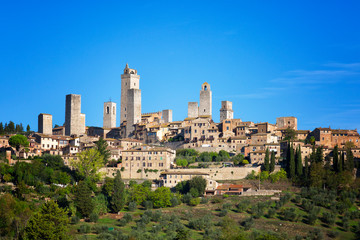 Beautiful view of the medieval town of San Gimignano in sunny day, Tuscany, Italy